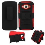 Insten Shockproof Hybrid Soft Hard Dual Layer Case Holster with Kickstand For Samsung Galaxy J2 (2016) - Black/Red