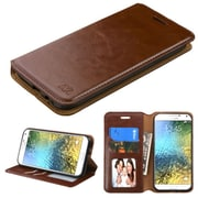 Insten Folio Leather Fabric Case w/stand/card slot/Photo Display/Diamond For Samsung Galaxy E5 - Brown