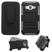 Insten Hard Dual Layer Plastic Silicone Cover Case w/Holster For Samsung Galaxy Core Prime - Black/Gray