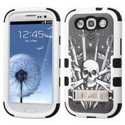 Insten Tuff Sword Skull Hard Hybrid Rubber Coated Silicone Case w/stand For Samsung Galaxy S3 - Black/White