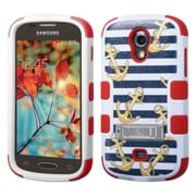 Insten Tuff Nautical Stripes Hard Dual Layer Rubber Silicone Cover Case w/stand For Samsung Galaxy Light - Colorful
