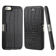 Insten Crocodile Folio Genuine Leather Case w/card holder For Apple iPhone 6 Plus/6s Plus - Black