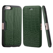 Insten Crocodile Flip Genuine Leather Cover Case w/card slot For Apple iPhone 6 Plus/6s Plus - Green/Black