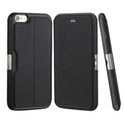 Insten Folio Genuine Leather Fabric Case w/card slot For Apple iPhone 6 Plus/6s Plus - Black