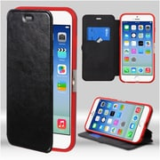 Insten Flip Leather Fabric Cover Case w/stand/card slot For Apple iPhone 6 / 6s - Black/Red