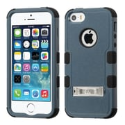 Insten Hard Hybrid Rubber Silicone Cover Case w/stand For Apple iPhone SE 5S 5 - Dark Blue/Black