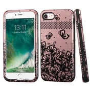 Insten Lace Flowers Hybrid 3-Layer Cover Case For Apple iPhone 7 - Rose Gold/Black