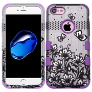 Insten Tuff Lace Flowers Hard Hybrid 3-Layer Shell Cover Case For Apple iPhone 7 - Black/Purple