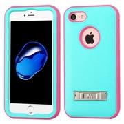 Insten Ultra Slim Hybrid 3-Layer Shockproof Kickstand Case For Apple iPhone 7 - Teal/Pink