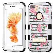 Insten Pink Fresh Roses/Black TUFF Hybrid Dual Layer Phone Stand Case Cover for Apple iPhone 7 Plus