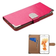 Insten Hot Pink Crocodile Skin Wallet Leather Flip Case for Apple iPhone 7 Plus (with Metal Diamonds Buckle)