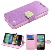 Insten Folio Leather Glitter Cover Case w/stand/card slot/Diamond For HTC Desire 510 - Purple/Gold
