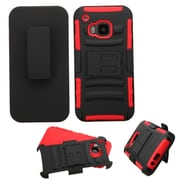 Insten Hard Hybrid Rugged Shockproof Plastic Silicone Cover Case w/Holster For HTC One M9 - Black/Red