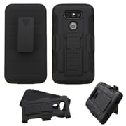 Insten Hard Dual Layer Plastic Silicone Stand with Holster For LG G5 - Black