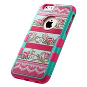 Insten Tuff Merge Stripes Damask Flower Hard Case For Apple iPhone 6 - Pink
