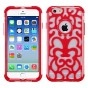 "Insten Glow Flower Hard Dual Layer Crystal Silicone Cover Case For iPhone 6S 6 4.7"" - Red/Clear"