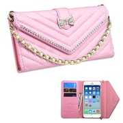 Insten Folio Leather Fabric Case Chain w/card slot/Diamond For Apple iPhone 6 - Pink