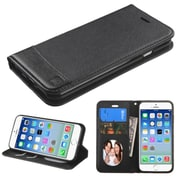 Insten Flip Leather Fabric Case w/stand/card holder/Photo Display For Apple iPhone 6 - Black