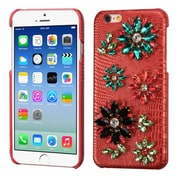 Insten Flowers Leather 3D Fabric Hard Case w/Diamond For Apple iPhone 6 / 6s - Red/Colorful