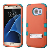 Insten Hard Dual Layer Rubber Silicone Case w/stand For Samsung Galaxy S7 Edge - Orange/Teal