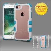 Insten Ivory White Frame+Transparent PC Back/Tropical Teal TUFF Vivid Hybrid Case Cover for Apple iPhone 7