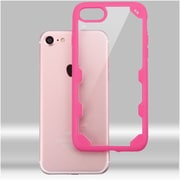 Insten Ultra Protective Crystal Clear Hard Back Panel Case with Soft Rubber Bumper For iPhone 7 - Clear/Hot Pink