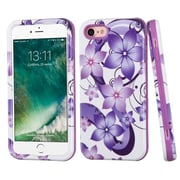 Insten Hibiscus Flower Romance Hard Hybrid 3-Layer Cover Case For iPhone 7 - Purple/White