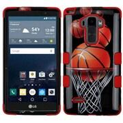 Insten Tuff Basketball Hoop Hybrid Soft Hard Case Cover (3-Piece Style) for LG G Stylo / G Vista 2 - Black/Orange