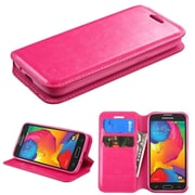 Insten Book-Style Leather Fabric Cover Case w/stand/card holder For Samsung Galaxy Avant - Hot Pink