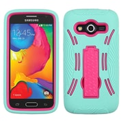 Insten Silicone Hybrid Shockproof Rubber Hard Case with Stand For Samsung Galaxy Avant - Teal Green/Hot Pink