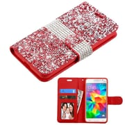 Insten Book-Style Leather Diamante Cover Case w/card holder/Photo Display For Samsung Galaxy Grand Prime - Red/Silver
