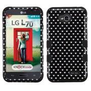 Insten Black Heart Dots TUFF Hybrid Rugged Hard Shockproof Case For LG Optimus Exceed 2 VS450PP Verizon