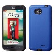 Insten Hard Hybrid Rubberized Silicone Case For LG Optimus Exceed 2 VS450PP Verizon/Optimus L70/Realm - Blue/Black