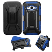 Insten Hard Dual Layer Plastic Silicone Case w/Holster For Samsung Galaxy Core Prime - Black/Blue