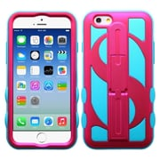 Insten Dollar Hard Hybrid Rubberized Silicone Cover Case with Stand For Apple iPhone 6 6S - Hot Pink/Blue