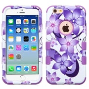 Insten Tuff Hibiscus Flowers Hard Hybrid Rubberized Silicone Cover Case For Apple iPhone 6/6s - Purple/White