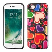 Insten Colorful Hearts/Black Advanced Armor (3D Pattern) Hybrid Dual Layer Case Cover for Apple iPhone 7