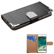 Insten Black Crocodile Skin Wallet Leather Flip Case for Apple iPhone 7 (with Metal Diamonds Buckle)