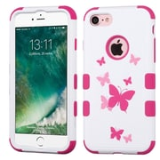 Insten Tuff Butterfly Dancing 3-Layer Hard Rubberized Silicone Cover Case For Apple iPhone 7 - Pink/White