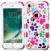 Insten Tuff Dog Footprints Hard 3-Layer Silicone Hard Hybrid Case For iPhone 7 - Pink/White