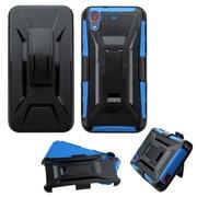 Insten Hard Hybrid Rugged Shockproof Plastic Silicone Case w/Holster For HTC Desire 626/626s - Black/Blue