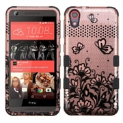 Insten Tuff Lace Flower Butterfly 2-Layer Hybrid Shockproof Case For HTC Desire 626/626s - Rose Gold/Black