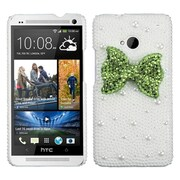 Insten Light Green Bow Pearl 3D Diamante Back Case Cover with Package For HTC One M7