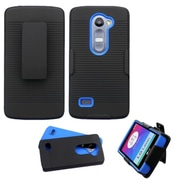 Insten Hard Hybrid Rugged Shockproof Rubber Coated Silicone Case w/Holster For LG Leon/Tribute 2 - Black/Blue