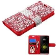Insten Flip Leather Wallet Bling Cover Case with card slot & Photo Display For LG G5 - Red/Silver