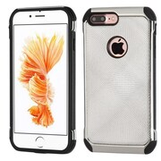 Insten 2-Layer Hybrid Rubber Hard Plastic Chrome Case For iPhone 7 Plus - Silver/Black