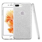 Insten Glitter Hybrid Hard Plastic / Soft Flexible Rubber Case For iPhone 7 Plus - Silver