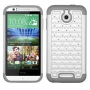 Insten Hard Dual Layer Rubber Silicone Cover Case w/Diamond For HTC Desire 510 - White/Gray