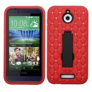 Insten Symbiosis Gel Hybrid Rugged Shockproof Rubber Hard Case with Stand/Diamond For HTC Desire 510 - Red/Black
