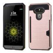 Insten Hard Dual Layer Hybrid Case with card slot holder For LG G5 - Rose Gold/Black
